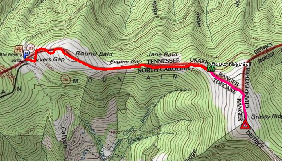 Red = AT. Pink = Grassy Ridge trail.